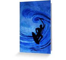 Surfing  #3, watercolor Greeting Card