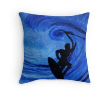 Surfing  #3, watercolor Throw Pillow