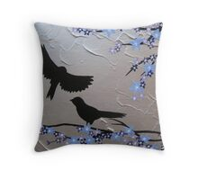 birds with blue, purple and silver blossom- zen feel Throw Pillow