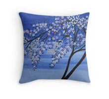 vibrant creative blue tree Throw Pillow