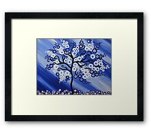 blue tree art with circles Framed Print