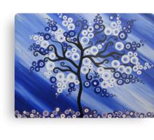 blue tree art with circles Metal Print