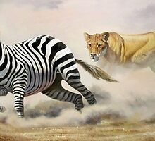 Lioness Chasing a Zebra Painting  by Mutan