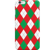 Elegant red white green Christmas argyle pattern iPhone Case/Skin