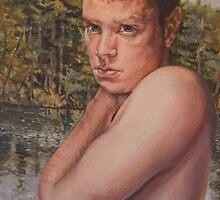 Pouty boy acrylic on canvas 18x12 by Thomas Acevedo