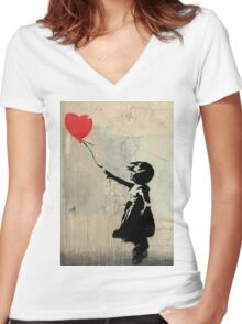 Banksy Red Heart Balloon Women's Fitted V-Neck T-Shirt