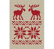 Moose Pattern Christmas Sweater Knit Photographic Print