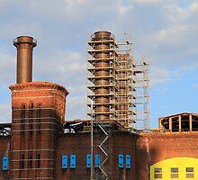 The Hudson & Manhattan Railroad Powerhouse Dismantling Old Smokestacks by pmarella