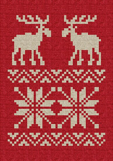 Moose Pattern Christmas Sweater Knit by tinybiscuits