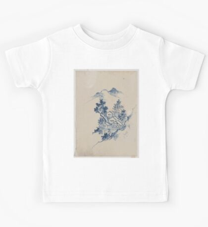 Buildings nestled among trees in a mountain valley 001 Kids Tee