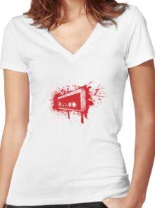 Retro Pad Graffiti Women's Fitted V-Neck T-Shirt