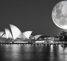 Full moon over Sydney Opera House - Australia by Gary Blackman