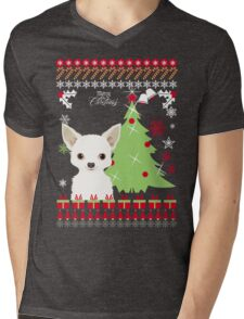 Chihuahua Ugly Christmas Sweater Mens V-Neck T-Shirt