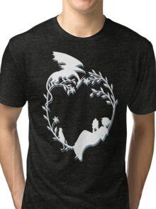 Ex Libris - White silhouette with shadow Tri-blend T-Shirt