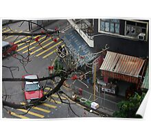 View from above: Hong Kong taxis Poster