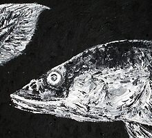 EEL LOOKING AT ITS OWN TAIL - oil portrait by lautir