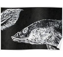 EEL LOOKING AT ITS OWN TAIL - oil portrait Poster