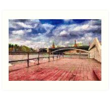 At Moscow river painting Art Print