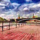 At Moscow river painting by Magomed Magomedagaev