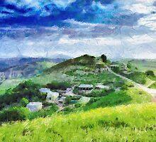 Ptikent village painting by Magomed Magomedagaev