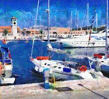 Old Rhodes market view painting by Magomed Magomedagaev