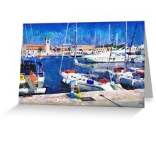 Old Rhodes market view painting Greeting Card