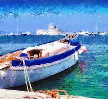 Boat parked in harbor painting by Magomed Magomedagaev