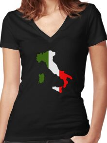 Map of Italy Women's Fitted V-Neck T-Shirt