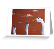 Pop Geese, Brown Greeting Card