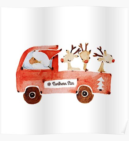 Santa and his reindeers  Poster