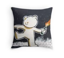 Bear By Banksy Throw Pillow