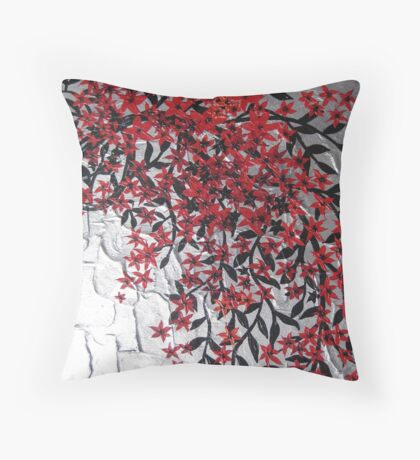 red black and silver blossom tree art Throw Pillow