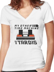 My Other Time Machine is a Tardis Women's Fitted V-Neck T-Shirt