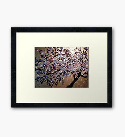 blue, purple and silver cherry blossom- winter frost Framed Print