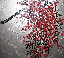 red black and silver cherry blossom tree art by cathyjacobs