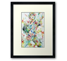 BRUCE SPRINGSTEEN PLAYING the GUITAR - watercolor portrait.1 Framed Print