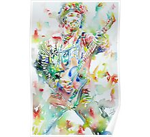 BRUCE SPRINGSTEEN PLAYING the GUITAR - watercolor portrait.1 Poster