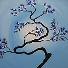 zen bonsai tree in blue, silver, black and white by cathyjacobs