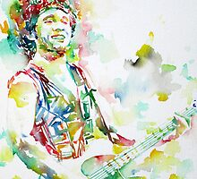 BRUCE SPRINGSTEEN PLAYING the GUITAR - watercolor portrait.3 by lautir