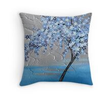 Blue stars cherry blossom tree Throw Pillow