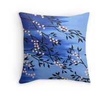 delicate peach cherry blossom in the snow Throw Pillow