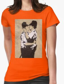 Banksy Kissing Police Womens Fitted T-Shirt