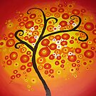 red yellow and orange circle tree art - colourful and vibrant painting by cathyjacobs
