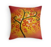 red yellow and orange circle tree art - colourful and vibrant painting Throw Pillow