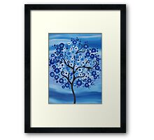 vertical blue tree with circles, sand and waves- the sea tree Framed Print