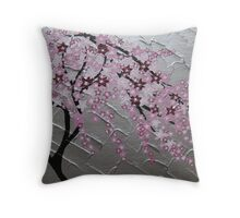 cherry blossom tree art with white and pink- japanese painting Throw Pillow