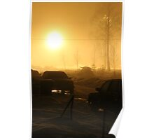 Small town. Winter night. Fog. Poster