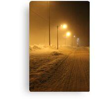 Winter street. Small town. Canvas Print