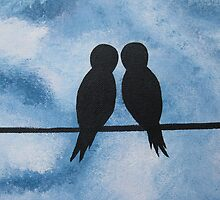 love birds on branches- blue, white, and black by cathyjacobs