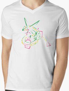 Rayquaza Line Art Mens V-Neck T-Shirt